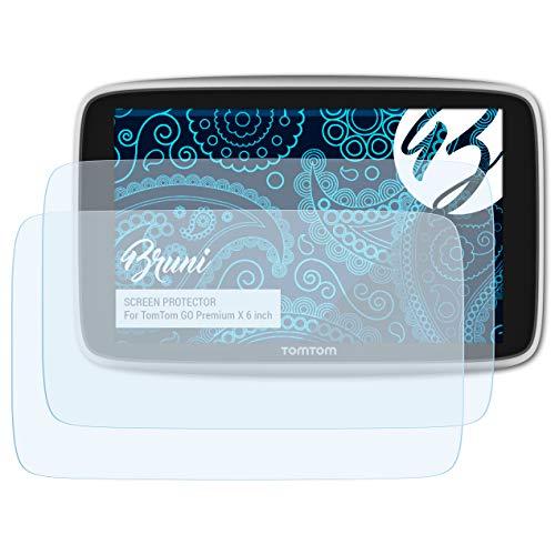Bruni Pellicola Protettiva per TomTom GO Premium X 6 inch Pellicola Proteggi, cristallino Proteggi Schermo (2X)