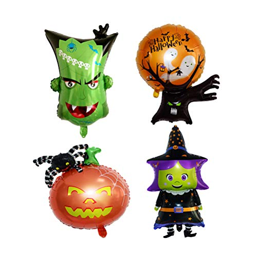 Amosfun 4er Set Luftballons Halloween Alufolien Luftballons Kürbisspinne Halloween Partyartikel Deko (Kürbisspinne + Hexe + Monsterkopf + Geisterbaum) (Kinder-opfer Auf Halloween)