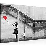 Bilder Banksy - Ballon Girl Street Art Wandbild 120 x 80 cm - 3 Teilig Vlies - Leinwand Bild XXL Format Wandbilder Wohnzimmer Wohnung Deko Kunstdrucke Rot Grau - MADE IN GERMANY - Fertig zum Aufhängen 301631a