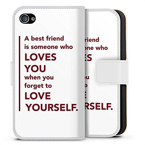 Apple iPhone X Silikon Hülle Case Schutzhülle Bester Freund Freund Freundschaft Sideflip Tasche weiß