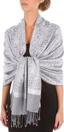 Sakkas Soft Pashmina Feel Paisley Design Schal / Stola - Silbergrau -