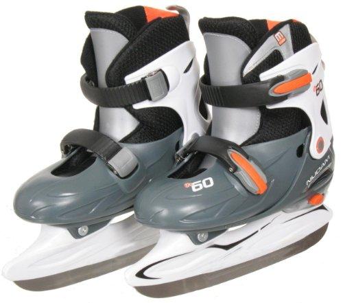 Nijdam Junior Eishockey Schlittschuhe Kinder größenverstellbar (30 - 33) (grau weiß orange)