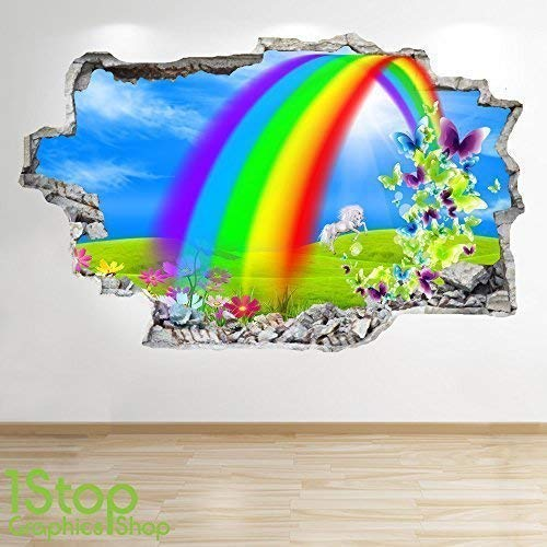 1Stop Graphics Shop Regenbogen Wandaufkleber 3D Optik - Jungen Mädchen Kinder Einhorn Schmetterling Wand Abziehbilder Z411 - Large: 70 cm x 111 cm