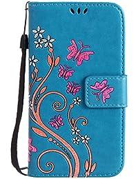 Nancen Samsung Galaxy S5 / I9600 SM-G900F (5,1 pouces) Haute Qualité PU Cuir Peint Flip Étui Coque de Protection Wallet / Portefeuille Case Cover Housse - Avec Carte de Crédit Fente, Fermeture Magnétique, Fleur et Papillon Modèle Case avec