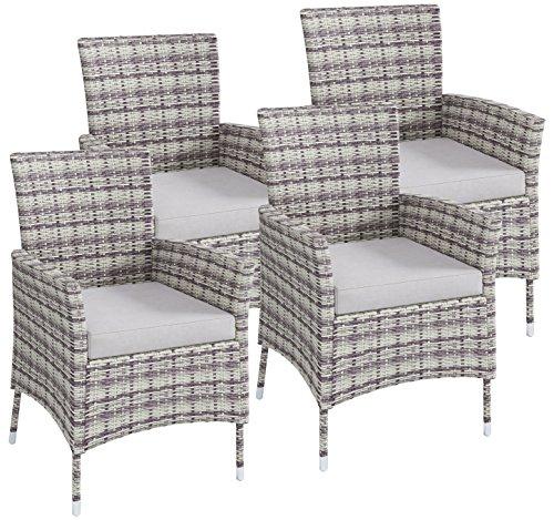 VCM Polyrattan Stuhl Stühle Rattan Gartenstühle Sessel Gartensessel Grau 4x  Stühle