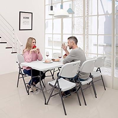 SONGMICS 180 x 75 x 74 cm Klapptisch Tisch klappbar weiß GPT01WT von Songmics auf Gartenmöbel von Du und Dein Garten