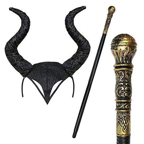Halloween Gothik Hupe Cosplay Verkleidung Kopfschmuck & Staff - (Maleficent'kopfschmuck)