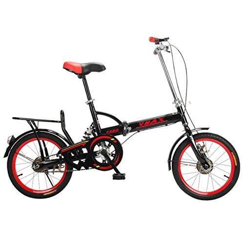 YEARLY Schüler klappräder, Klappräder Männer und Frauen Lightweight Kinder Schule Faltrad-schwarz 16inch