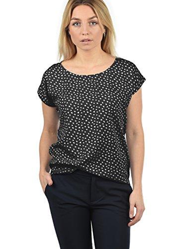 BlendShe Amarena Damen Lange Bluse Kurzarm Mit U-Boot Ausschnitt Und Verschiedene Prints Loose Fit, Größe:XL, Farbe:Black dot (10010)