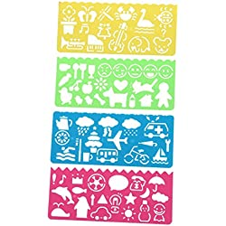 Regla - TOOGOO(R) 4 pzs Regla de dibujo de plantillas de plastica para Estudiantes Ninos