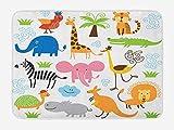 Klotr Felpudos, Animal Bath Mat, Cute Set of Giraffe Elephant Zebra Turtle Kids Nursery Baby Themed Cartoon Comic Print, Plush Bathroom Decor Mat with Non Slip Backing, 40X60 CM, Multi