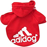 Rdc Pet Adidog Dog Hoodies, Apparel, Fleece Basic Hoodie Sweater, Cotton Jacket Sweat Shirt Coat for Small Dog & Medium Dog & Cat (Red,L)