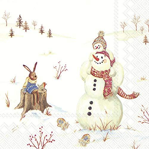 """Weihnachts-Servietten/Motiv-Servietten\""""Happy Winter Day\"""" mit Schnee-Mann & Hase/Winter-Landschaft - Weihnachts-Deko/Tisch-Dekoration Weihnachten/Advent / Weihnachts-Feier/Winter (60 Servietten)"""