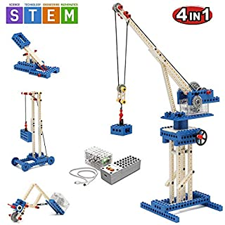 SEIGNEER 4 IN 1 Power Machinery Crane Building Set Education Toy 173 Pieces With Storage Box