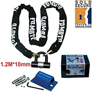 FD-MOTO 1.2M*10mm STEEL Heavy Duty Motorbike Chain Lock Padlock + Oxford OF439 Motorcycle Ground Anchor (Sold Secure)
