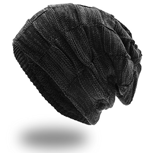 UPhitnis Warme Beanie Herren Damen - Mütze Long Slouch - Wintermütze mit Kariert Strickmuster Sehr Weichem Fleecefutter - Slouch Beanie
