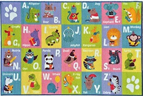 KC CUBS Playtime Collection ABC Alphabet mit Alten McDonald's Animals Lern-Teppich für Kinder und Kinderzimmer und Spielzimmer, 150 cm x 200 cm