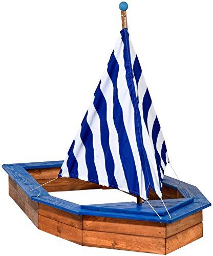 dobar 94600FSC - Sandkasten Schiff aus Holz groß, Rumpf, Sandkiste Boot für Kinder XXL XL Outdoor, 180 x 96 x 125 cm, FSC-Holz, weiß/blau