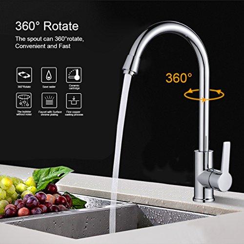 Auralum® 360 gradi monocomando cucina rubinetto miscelatore lavandini vanità rubinetti con canna alta cascata lavabo rubinetto da bacino,in ottone cromato rubinetto da bagno