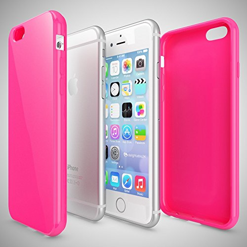iPhone 6 Plus 6S Plus Coque Silicone de NICA, Ultra-Fine Housse Protection Cover Slim Premium Etui Mince Telephone Portable Gel Case Bumper Souple pour Apple iPhone 6S+ 6+ Smartphone - Rouge PinkRose