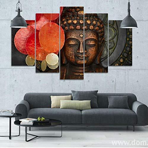 WENYAO Wallart Leinwand Wandkunst Wand Paiting Poster HD druckbare Wohnzimmer Leinwand dekorative Malerei (5 Blatt/Set), mit Grenzen, SizeA (Druckbare Farbe Blätter)