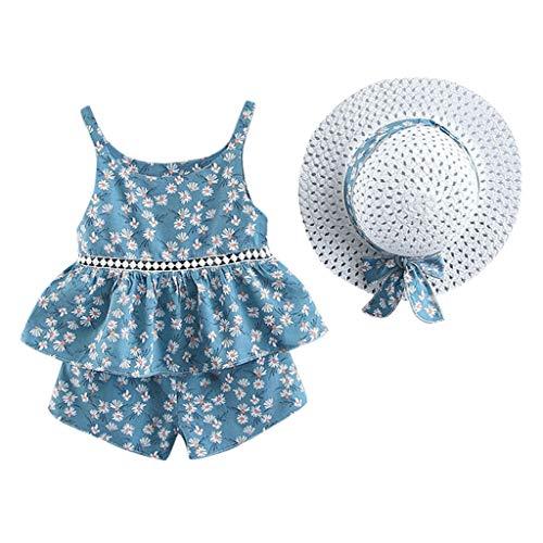 BURFLY Kleinkind Baby Kinder Mädchen Blumen Obst Bedrucktes Rüschentop Strap Tops + Shorts Hut Casual Outfits Set