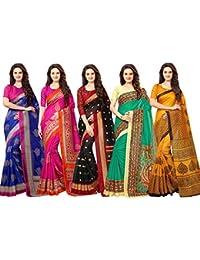 Vashtram Women's Multi Color Bhagalpuri Silk Printed Saree Combo (Pack of 5)