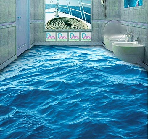 Preisvergleich Produktbild 3D Suelo Personalizado Impermeable 3D Suelo De Pvc 3D Ondas De Agua Azul Piso 3D Baño Foto 3D Murales De Papel Pintado,  Personalizado: 1 PlazaDDBBhome