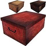 Aufbewahrungsbox 45L mit Deckel Leder Optik 3er Set Pappe Aufbewahrungskiste Truhe Aufbewahrung Schachte