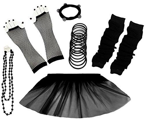 A-Express 80er Damen Neon Tütü Rock Ebene Beinstulpen Handschuhe Halskette Tüll Fluo Ballett Verkleidung Party Tutu Rock Kostüm Set (36-44, ()