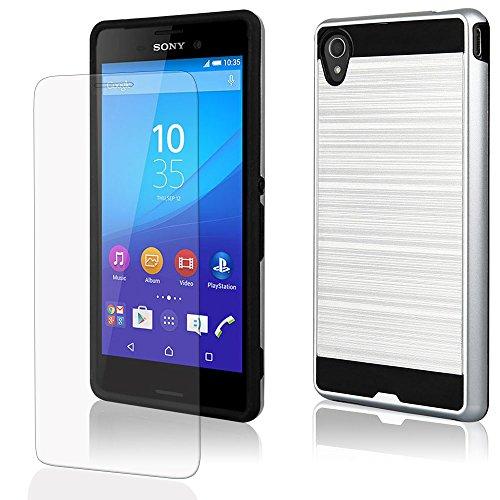 EGO® Hard Case Schutz Hülle für Sony Xperia M5, Silber Metallic Effect Aluminium Brushed Handy Cover Schale Bumper Etui Top-Qualität Silber + Glas