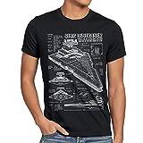 A.N.T. Sternenzerstörer Herren T-Shirt blaupause raumschiff, Größe:MFarbe:Schwarz