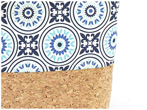 Braune Tasche aus Korkstoff mit blauem Mandala Muster - 4
