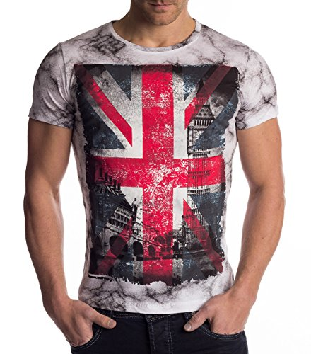National Union (Herren T-Shirt · (Slim Fit) Kurzarm Shirt mit Union Jack National Flag United Kingdom Vintage All-Over Print, T-Shirt mit Rundhals Ausschnitt (O-Neck) Jersey, London Druck · H1480 in Markenqualität)