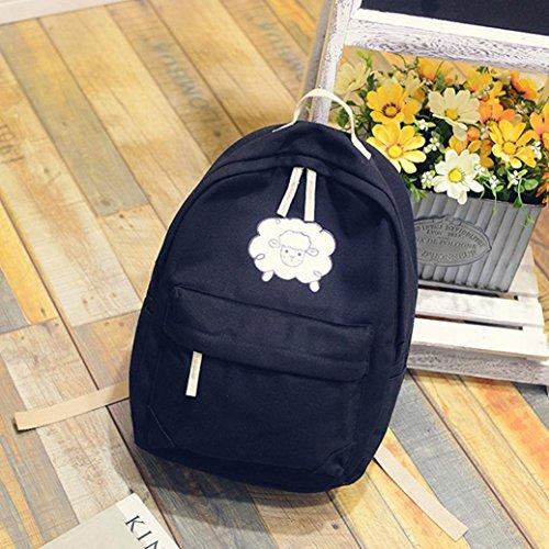 Manadlian Causal Rucksack Freizeitrucksack Daypacks Backpack für Mädchen Jungen & Kinder Jugendliche Damen Herren Volltonfarbe Fashion Neutral Schaf-Muste Rucksack Bag Schwarz