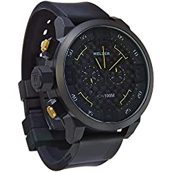 Welder Men's Quartz Watch with Black Dial Chronograph Display and Black Rubber Strap K31-10000