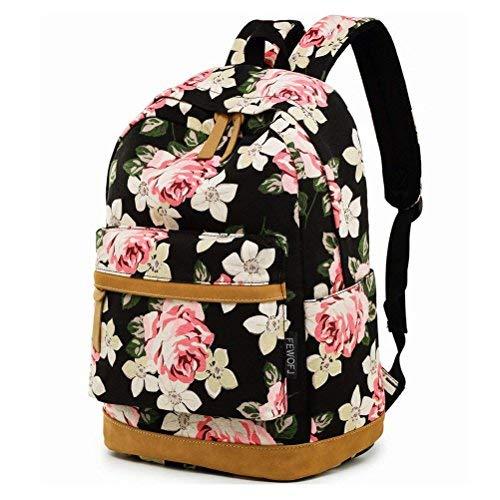 Feskin zaino ragazza, zaino viaggio zaino scuola superiore adatto 15 pollici computer portatile in floreale blooms