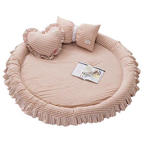 L Entfernbarer Runder Teppich-Baumwollmaschinen-waschende Haushalts-Matte (Durchmesser: 145cm) ( Farbe : Licht Kaffee Farbe , größe : B )