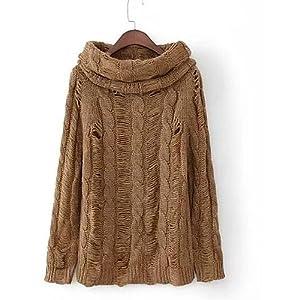 BaiChunYunYi Damen Standard Pullover-Ausgehen Lässig/Alltäglich Street Schick Solide U-Ausschnitt Langarm Baumwolle Herbst Mittel Mikro-elastisch