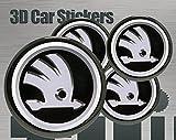 Think Ink 3D Aufkleber 4 Stk. Skoda Logo Imitation Alle Größen Mittelkappen Radkappen (56 mm)
