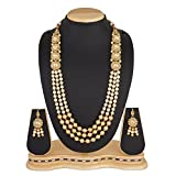 #9: The Luxor Wedding Bridal Jewellery Multi-Strand Rani Haar Kundan Pearl Necklace Set for Women and Girls