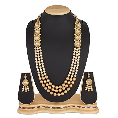 The Luxor Wedding Bridal Jewellery Multi-Strand Rani Haar Kundan Pearl Necklace Set...