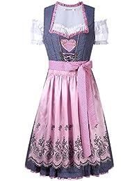 KOJOOIN Trachten Damen Dirndl Kurz - Midi Trachtenkleid für Oktoberfest - DREI Teilig: Kleid, Bluse, Schürze Grau-Rosa 36/M
