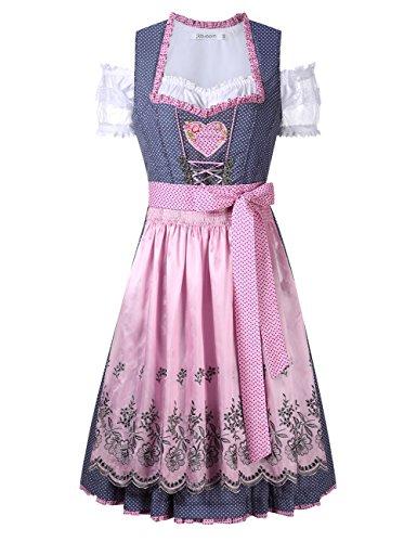 KOJOOIN/KUULEE Damen Dirndl 3tlg.Set - Mini Trachtenkleid für Oktoberfest - Originelles Design Stickerei Dots Karo und - Match Kostüm