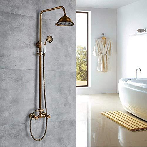 HONGSHENG Bad Dusche Wasserhahn - Vintage Messing 8-Zoll-Regendusche Wasserhahn, 2 Knöpfe Mit Handbrause Gemischt