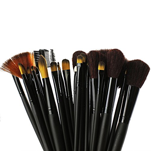 PsmGoods Maquillage Brush Set 32pcs sourcils lèvres Fard à paupières Cheek Brush with Sac pochette noir
