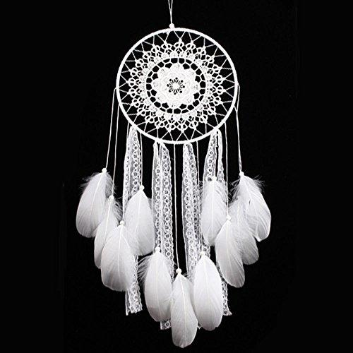Handgefertigt Medium Large Traumfänger Decor für Zimmer Weiß Feder Spitze Wand hängende Dekoration Ornament