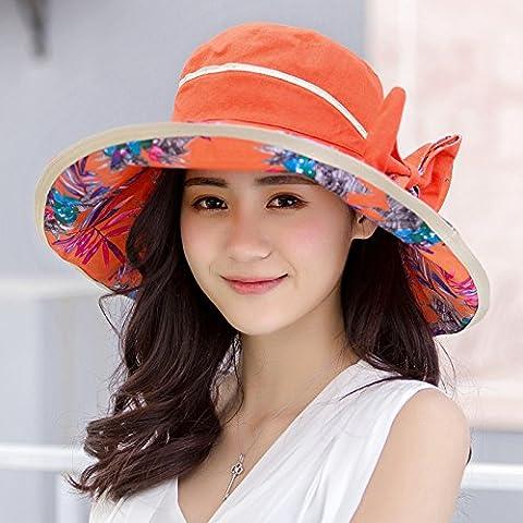 The Sun Visor Cap Female Travel All-Match Children Summer Beach Hat Cap Uv,Orange