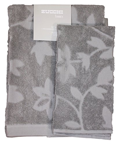 Set spugna coppia 2 pezzi 1+1 ospite 40 x 60 + asciugamano 60 x 110 zucchi basics asciugamani 100% spugna di puro cotone 450 gr/mq (tender grigio)