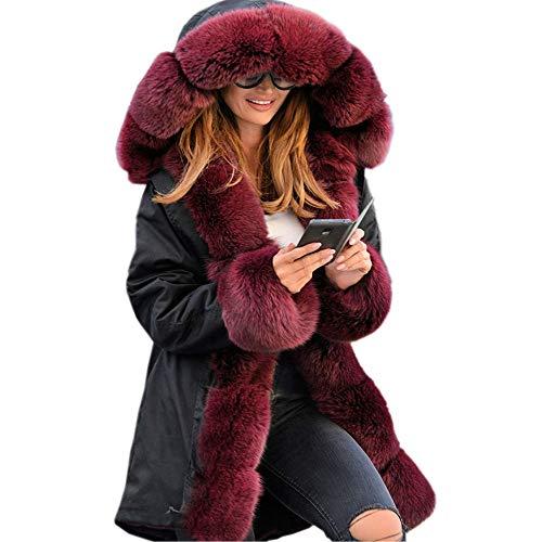 iHENGH Vorweihnachtliche Karnevalsaktion Damen Winter Jacke Dicker Warm Bequem Parka Mantel Lässig Mode Frauen Faux Fur Hooded Coat Fishtail Long Sleeves Overcoat